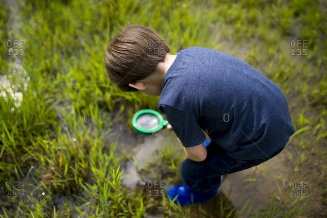 Boy with magnifying glass in field