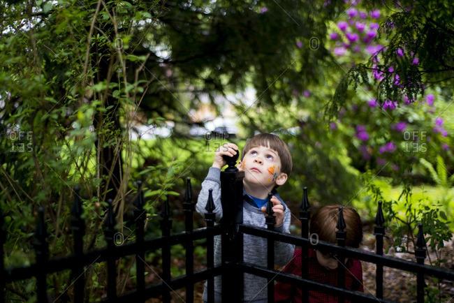 Kids exploring a lush yard