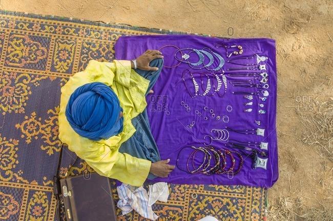 Africa - September 27, 2007: Jewelry seller in market, Niger