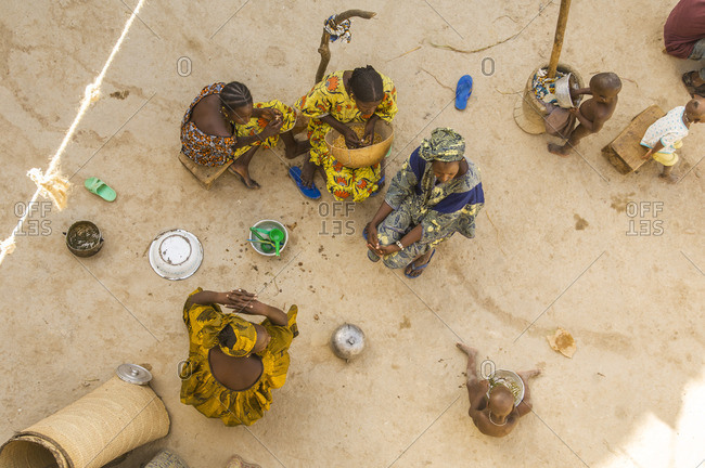 Mali, Mopti - October 24, 2007: Women preparing food in Mali