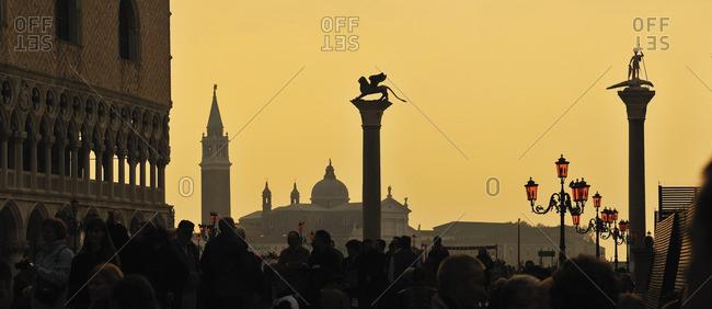 Italy, Venice - November 15, 2009: Sunset at Piazza San Marco, Italian