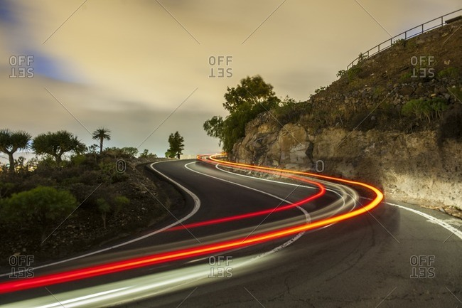 Blurred traffic in Canary Islands