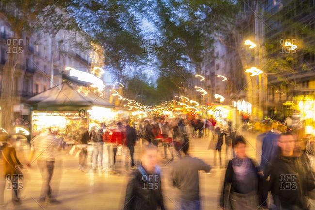 Crowds on street in Barcelona