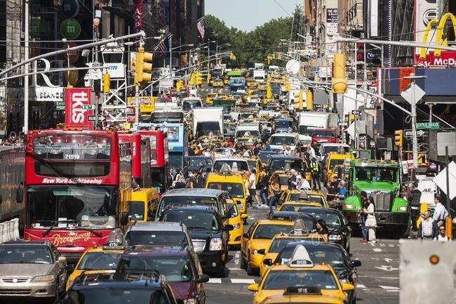 USA, New York, Manhattan - September 25, 2013: Rush hour on 7th Avenue, New York