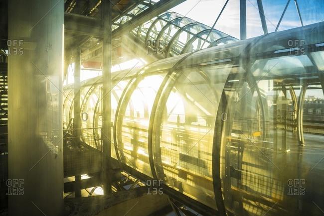 France, Paris - November 12, 2014: Tunnels in Centre Pompidou, Paris