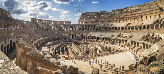 Italy, Rome - August 11, 2016: Inside the Coliseum, Rome