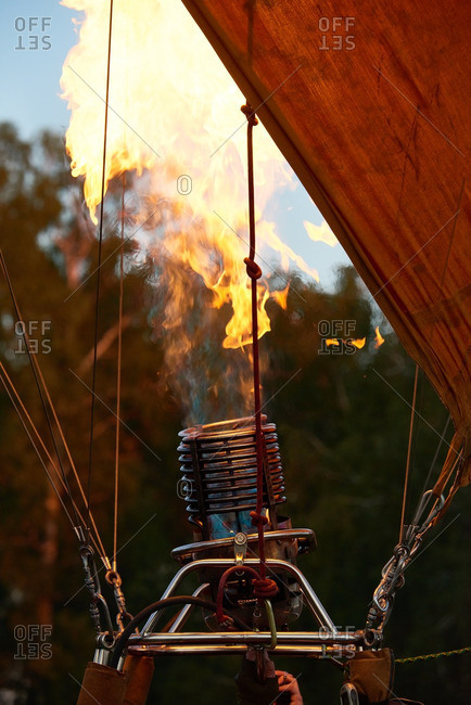 Open flame inflating hot air balloon