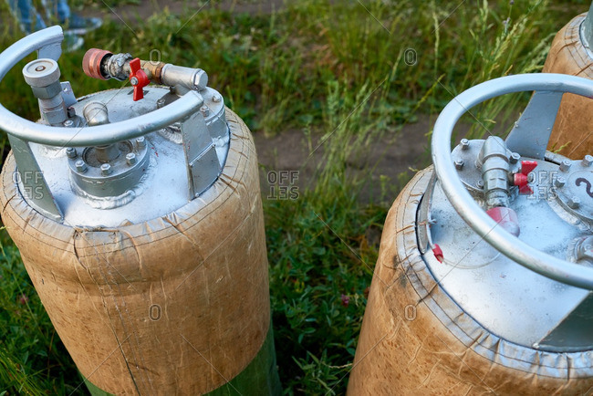 Propane cylinders for inflating hot air balloons
