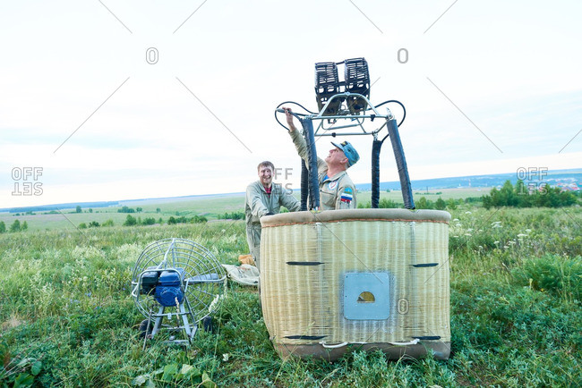 Hot air balloon crew preparing aircraft for the flight