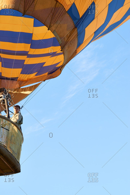 Man floating in his hot air balloon