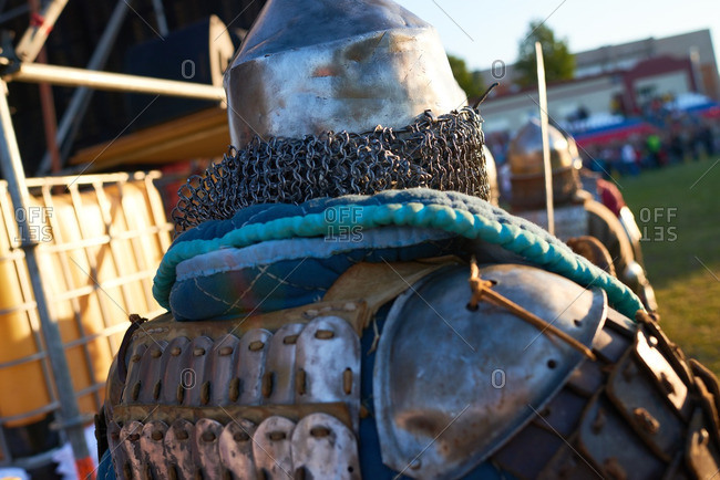Rear view of a man dressed up as Russian knight