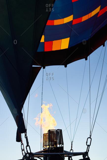 Kungur, Perm Krai, Russia - June 25, 2016: Gas burner inflating hot air balloon