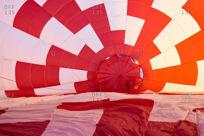Bright red hot air balloon cover