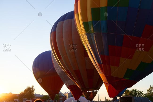 Row of hot air balloons ready for the flight