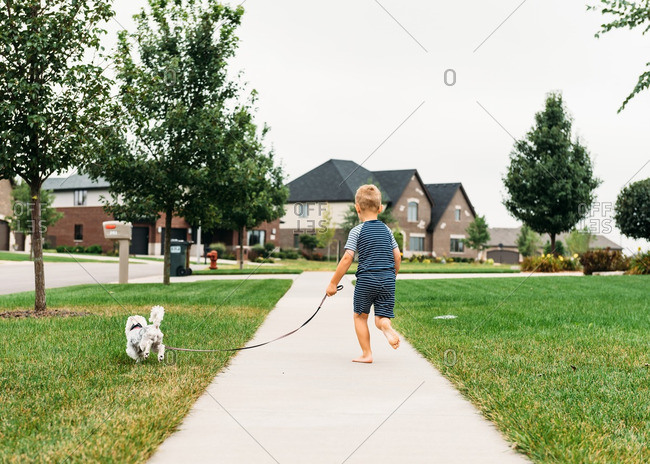 Boy taking dog out for walk