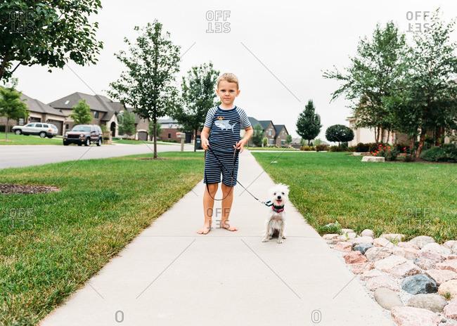 Dog and boy on sidewalk