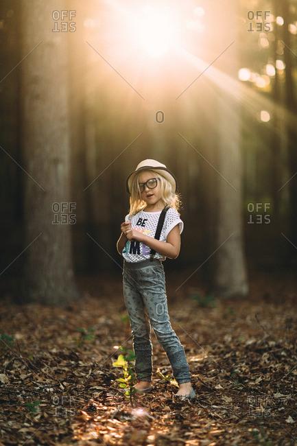 Stylish girl in sunlit woods