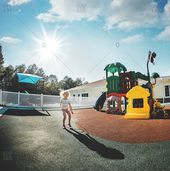 Girl in day care playground