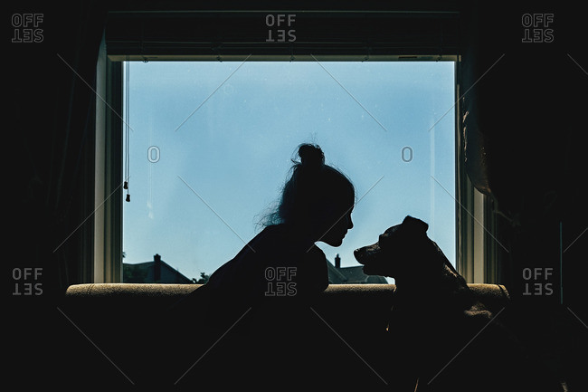 Girl and dog in silhouette