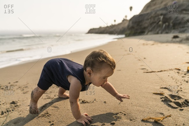 10 month old baby boy crawling along the beach