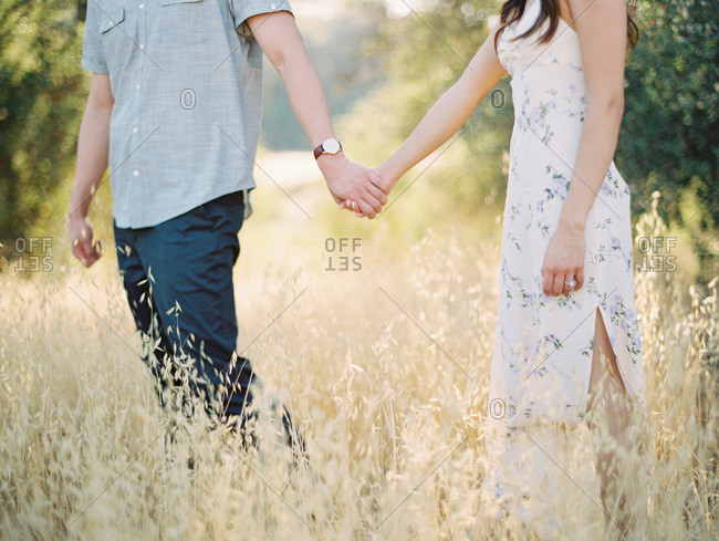 Couple holding hands in a field of tall grass