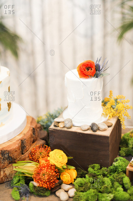 Cake on a pedestal surrounded by flowers