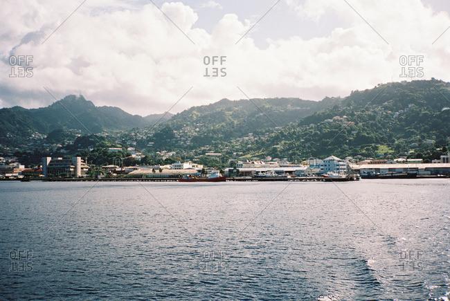 City nestled along a mountainous coastline