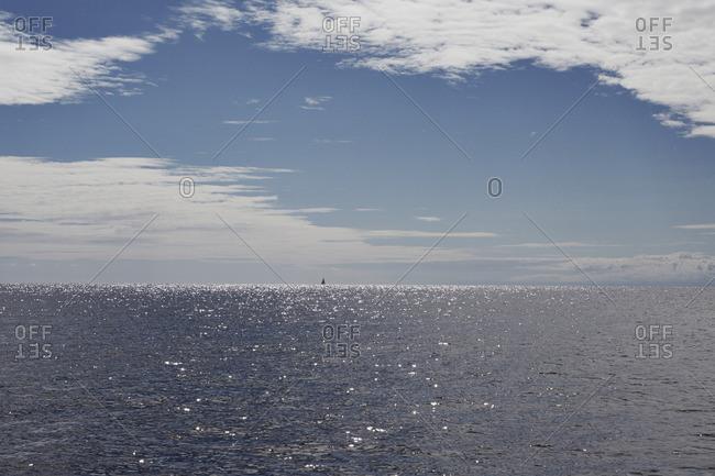 A tall ship sale seen at the horizon as the mid day sun reflecting off a calm ocean