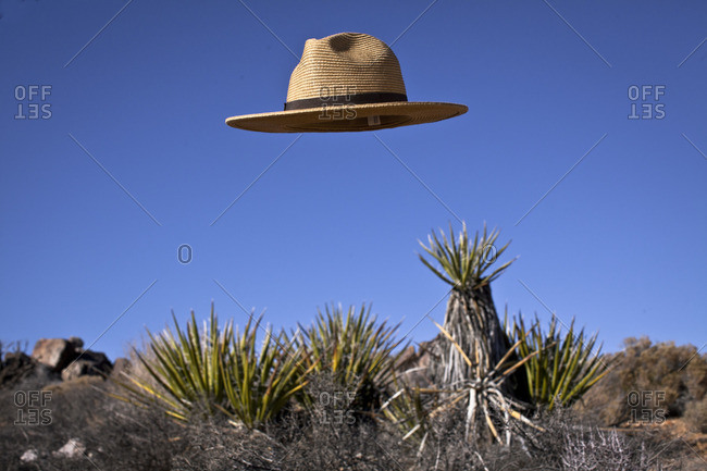 Hat floating in the air in Joshua Tree, California