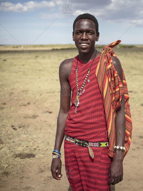 Kenya - October 17, 2013: Portrait of a young Masai man