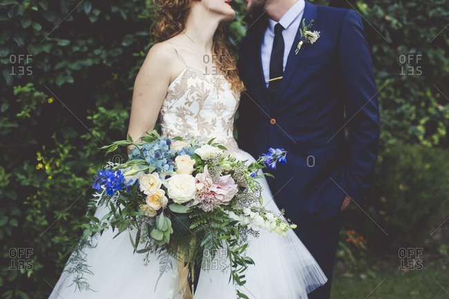 Close up of bride and groom on their wedding day