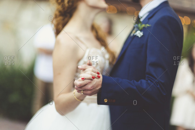 Bride and groom dancing on their wedding day