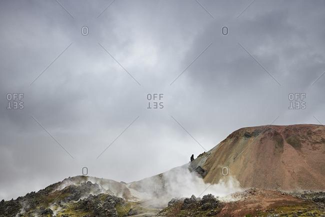 Fog surrounding Icelandic mountains