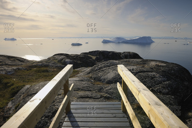 Wooden Walkway, Ilulissay Icefjord, Ilulissat, Disko Bay, Greenland