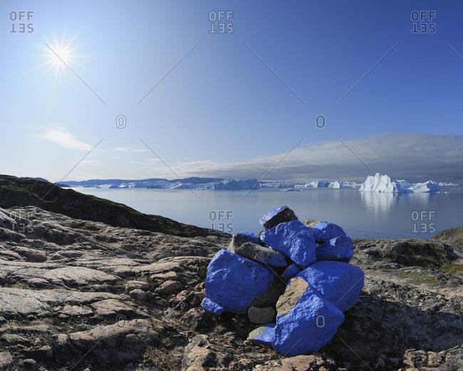 Blue Path Markings, Ilulissay Icefjord, Ilulissat, Disko Bay, Greenland