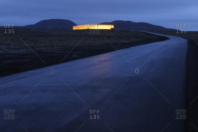Illuminated Greenhouse, Grindavik, Reykjanes, South Iceland, Iceland