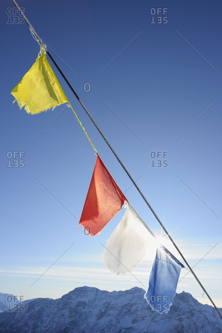 Buddhist Prayer Flags at Summit, Steinplatte, Waidring, Tyrol, Austria