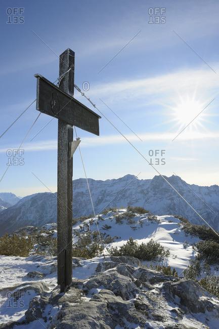 Cross at Summit, Steinplatte, Waidring, Tyrol, Austria