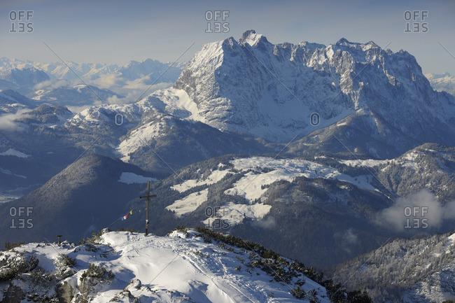 View Across Steinplatten Summit to Kaisergebirge, Waidring, Tyrol, Austria