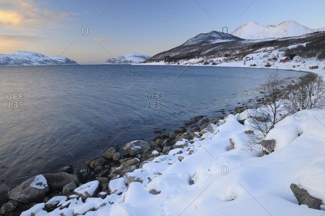Coast in Winter, Sorfjorden, Vasstrand, Troms, Norway