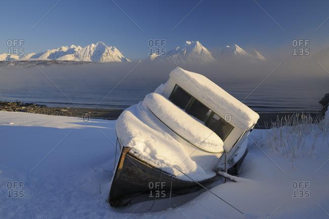 Fishing Boat on Shore, Lyngen Alps, Breivikeidet, Troms, Norway