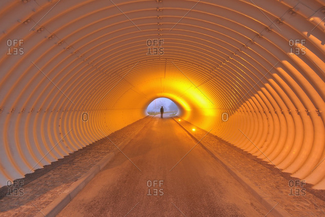 Man in Tunnel, Marktheidenfeld, Franconia, Bavaria, Germany