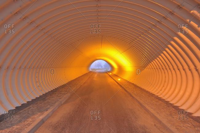 Illuminated Tunnel, Marktheidenfeld, Franconia, Bavaria, Germany