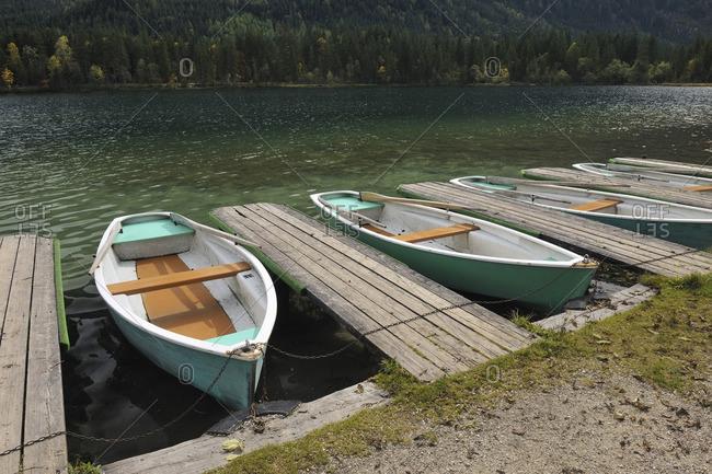 Boats and Docks on Lake Hintersee, Berchtesgaden National Park, Bavaria, Germany