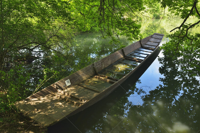 Boat, Taubergiessen Nature Reserve, Baden Wurttemberg, Germany