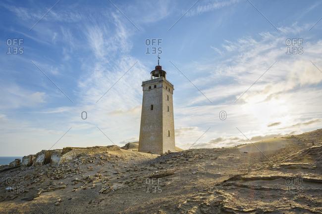 Lighthouse and Dunes Rubjerg Knude with Sun, Lokken, North Jutland, Denmark