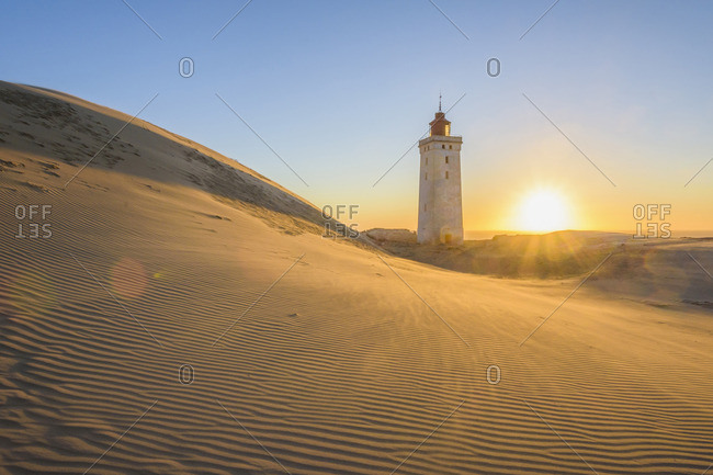 Lighthouse and Dunes, Rubjerg Knude at Sunset, Lokken, North Jutland, Denmark