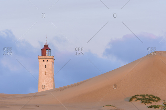 Lighthouse and Dunes at Dawn, Rubjerg Knude, Lokken, North Jutland, Denmark