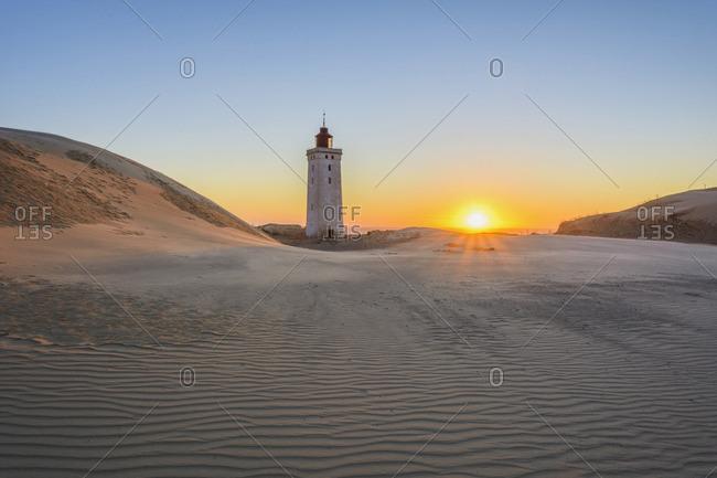 Lighthouse and Dunes, Rubjerg Knude at Sunset, Lokken, North Jutland, Denmark