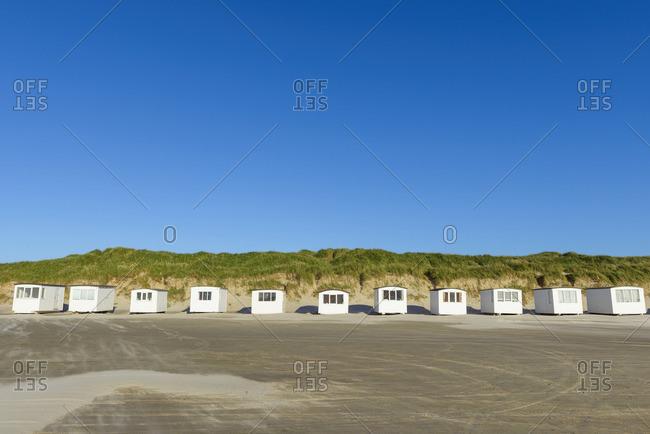 Beach Huts in Summer, Blokhus, Jammerbugt Municipality, North Jutland, Denmark